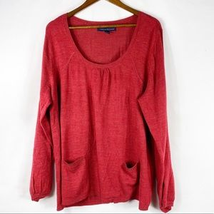 ASHLEY JUDD Red Sweater with Front pockets in 3X